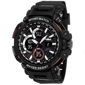 V2A Big Dial Black Outdoor Sport Shockproof Led Analogue and Digital Waterproof Chronograph Watch for Men